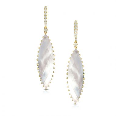 Doves 18k Yellow Gold White Orchid Mother of Pearl Earrings