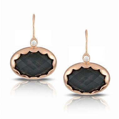 Doves 18K Rose Gold Hematite and Diamond Earrings