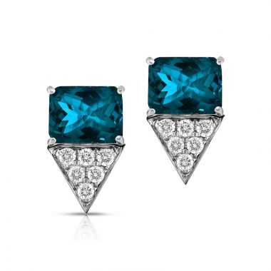 Doves 18k White Gold London Blue Topaz Earrings