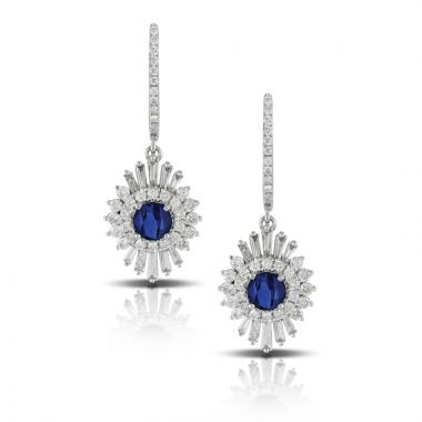 Doves 18k White Gold Azure Sapphire Earrings