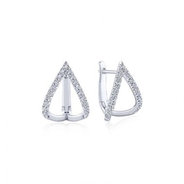 Gabriel & Co. 14k White Gold Kaslique Diamond Huggie Earrings
