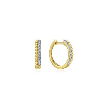 Gabriel & Co. 14k Yellow Gold Bujukan Diamond Huggie Earrings