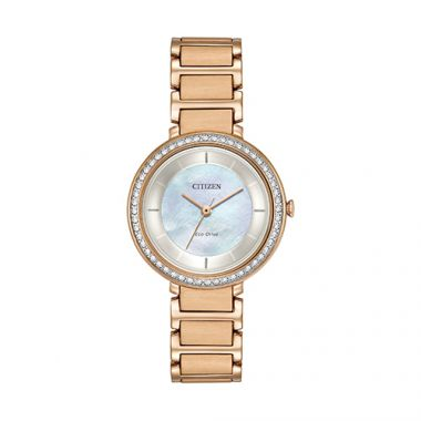 Citizen Silhouette Crystal Ladies Rose Stainless Steel Watch