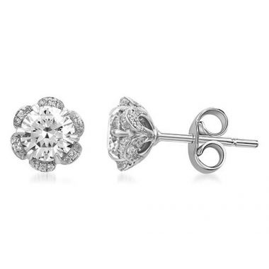 A. Jaffe 18k Gold 0.31ct Diamond Floral Halo Earrings
