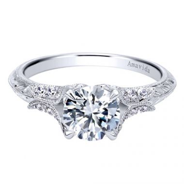 Amavida Platinum White Gold Straight Diamond Engagement Ring