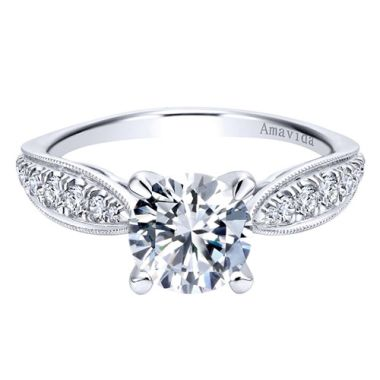 Amavida 18k White Gold Straight Diamond Engagement Ring