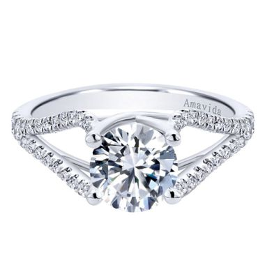 Amavida 18k White Gold Split Shank Diamond Engagement Ring