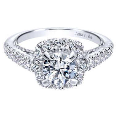 Amavida 18k White Gold Halo Diamond Engagement Ring