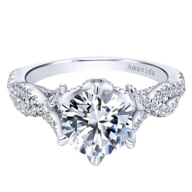 Amavida 18k White Gold Criss Cross Diamond Engagement Ring