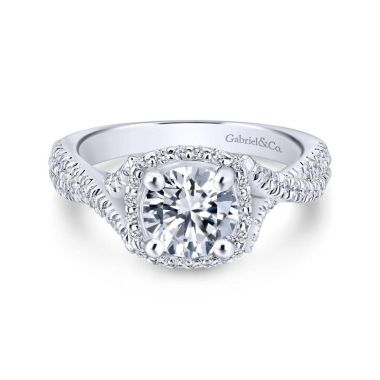 Gabriel & Co. 14k White Gold Rosette Halo Engagement Ring