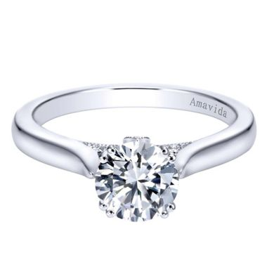 Amavida 18k White Gold Solitaire Diamond Engagement Ring