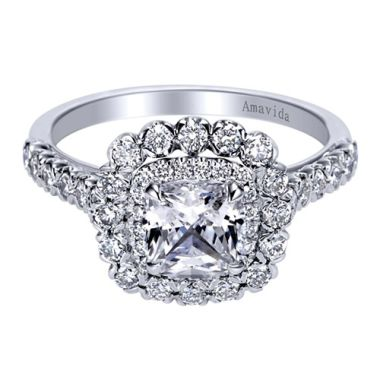 Amavida 18k White Gold Double Halo Diamond Engagement Ring