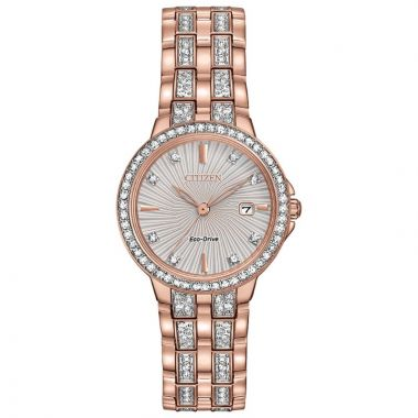 Citizen Eco-Drive Silhouette Crystal Stainless Steel Silver-Tone 28mm Women's Watch