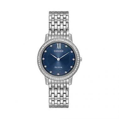 Citizen Silhouette Crystal Ladies White Stainless Steel Watch