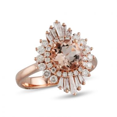 Doves 18k Rose Gold Little Bird Bridal Morganite Engagement Ring