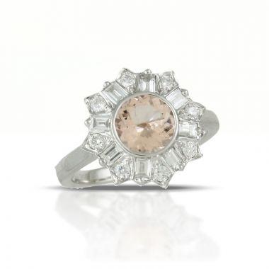 Doves 18k White Gold Little Bird Bridal Morganite Engagement Ring