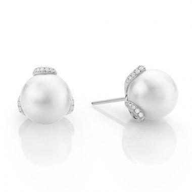Mikimoto 18k White Gold Embrace Pearl Earrings