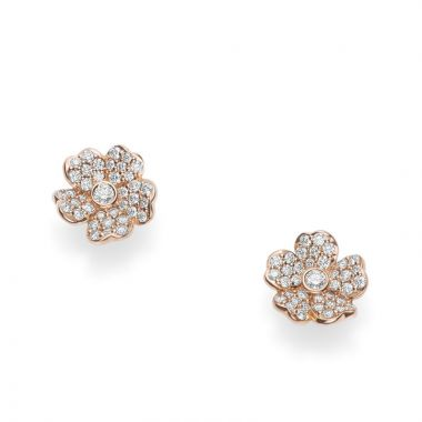 Mikimoto 18k Rose Gold Cherry Blossom Diamond Earrings