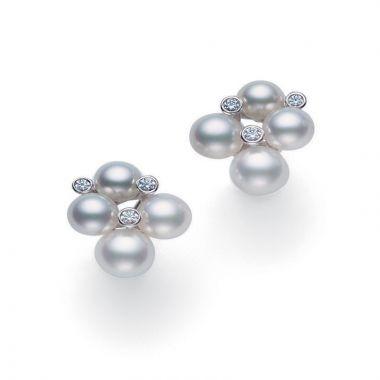 Mikimoto 18k White Gold Bubbles Pearl Earrings