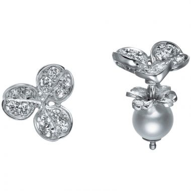 Mikimoto 18k White Gold Fortune Leaves Pearl Earrings