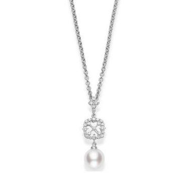 MIKIMOTO 18k White Gold Akoya Diamond Pendant