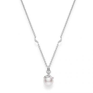 MIKIMOTO 18k White Gold Akoya 18k Diamond Pendant