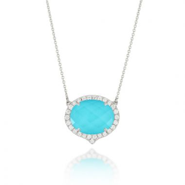 Doves 18k White Gold St. Barths Blue Quartz Necklace