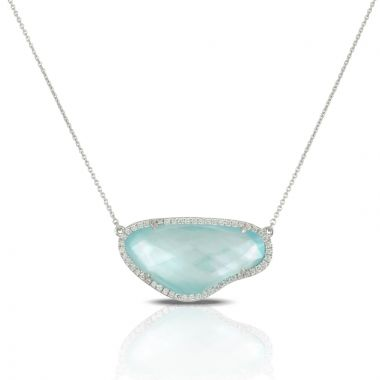 Doves 18k White Gold Ocean Mist Mother of Pearl and Topaz Necklace