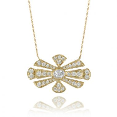 Doves 18k Yellow Gold Diamond Fashion Sapphire Necklace