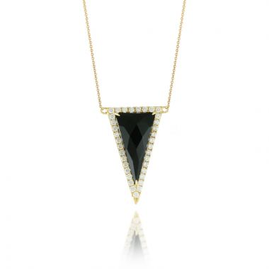 Doves 18k Yellow Gold Gatsby Onyx Necklace
