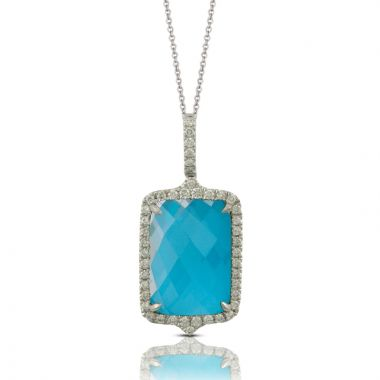 Doves 18k White Gold St. Barths Blue Quartz Pendant