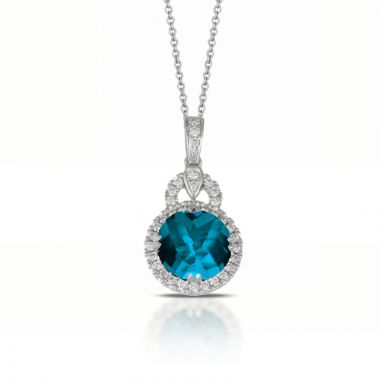Doves 18k White Gold London Blue Topaz Pendant