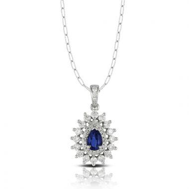 Doves 18k White Gold Azure Sapphire Pendant