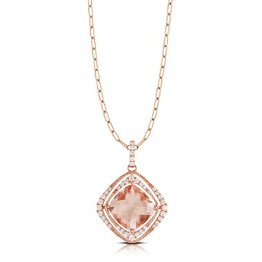 Doves 18k Rose Gold Rose Morganite Pendant