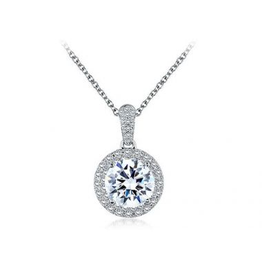 A. Jaffe 18k Gold Round 0.75ct Diamond Halo Pendant