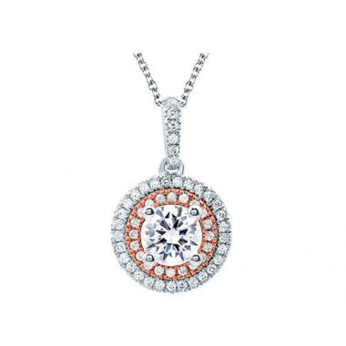 A. Jaffe 18k Two Tone Gold Double Halo 0.28ct Diamond Pendant