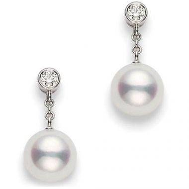 MIKIMOTO 18k White Gold Akoya Pearl Earrings