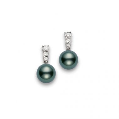 MIKIMOTO Tahitian Pearl and Diamond Earrings