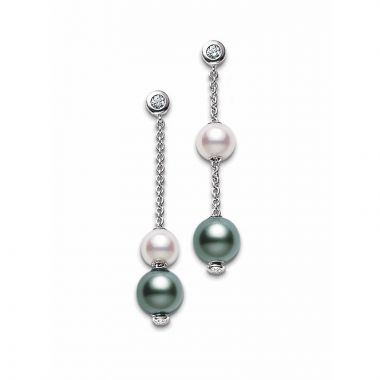 Mikimoto 18k White Gold Pearls in Motion Pearl Earrings