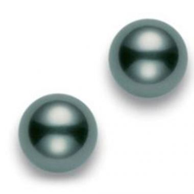 MIKIMOTO 18k White Gold Black South Sea A+ Pearl Stud Earrings