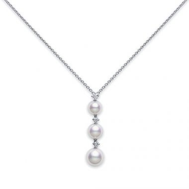MIKIMOTO 18k White Gold Akoya Pearls with Diamond Pendant.