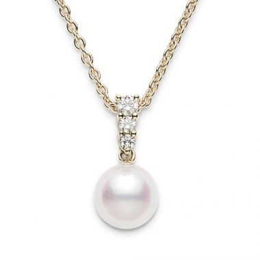 MIKIMOTO 18k White Gold Akoya Pearl and Diamond Pendant