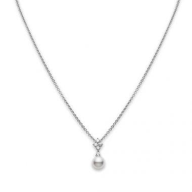 MIKIMOTO 18k Yellow Gold Pearl and Diamond Earrings
