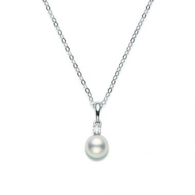 MIKIMOTO 18k White Gold Pearl and Diamond Pendant