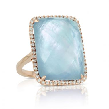 Doves 18k Rose Gold Ocean Mist Mother of Pearl and Topaz Ring