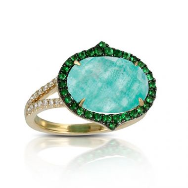 14k Yellow Gold Doves Oval Gemstone Ring