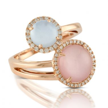 Doves 18k Rose Gold Bella Rosa Mother of Pearl and Topaz Ring