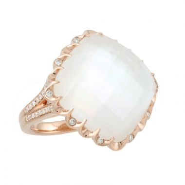 Doves 18k Rose Gold White Orchid Mother of Pearl and Topaz Ring
