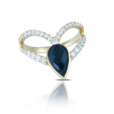 Doves 18k Yellow Gold Midnight Ocean Topazand Hematite Ring
