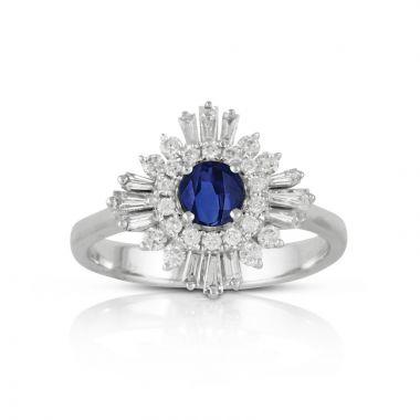 Doves 18k White Gold Azure Sapphire Ring